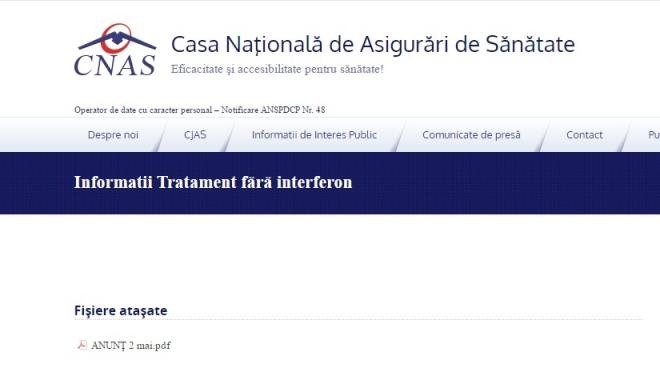 Foto: Informaţii despre tratamentele fără interferon, afişate pe site-ul CNAS