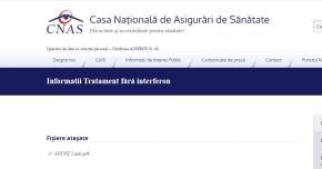 Informaţii despre tratamentele fără interferon, afişate pe site-ul CNAS