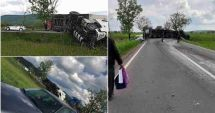Carnagiu pe șosea, după impactul dintre un TIR și două mașini