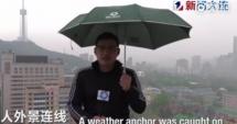 Reporter lovit de fulger, în timp ce transmitea informaţii despre starea vremii