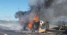 O cisternă cu vin s-a răsturnat pe autostradă şi a luat foc