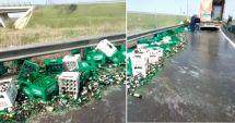 VIDEO. Un tir cu bere şi-a pierdut încărcătura, la ieşire de pe Autostrada Soarelui