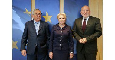 V. Dăncilă, la discuţii cu Juncker şi Timmermans. Le-a promis că nu mai modifică legile justiţiei