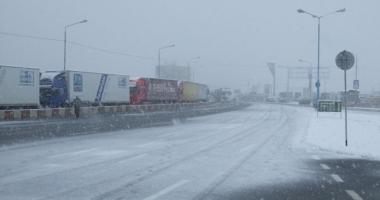 """Restricţii la frontiera cu Bulgaria. """"Se circulă în condiţii de iarnă"""""""
