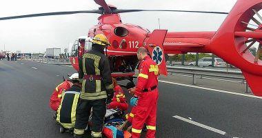 Accident grav pe A1. A fost solicitat un elicopter SMURD