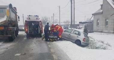 Impact violent din cauza vitezei și a zăpezii, pe DN 7