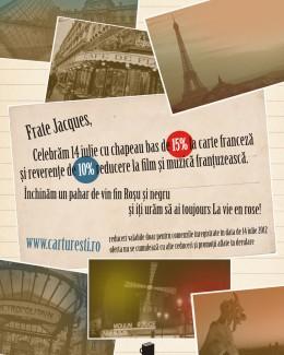 Librăria Cărtureşti va sărbători Ziua Franţei cu reduceri