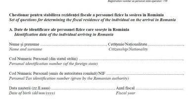Declararea rezidenței fiscale  la plecarea sau venirea în țară