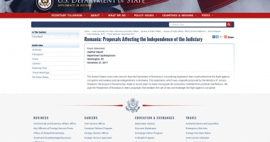 Departamentul de Stat american cere Parlamentului României să respingă legile justiției