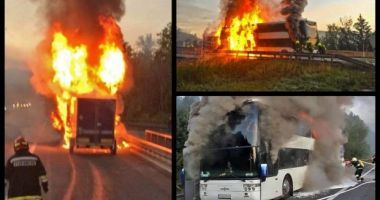 CLIPE TERIBILE! Un autocar românesc a explodat pe o autostradă din Austria