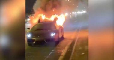 Un Lamborghini Gallardo de 150.000 de euro, abia scos din service, a explodat pe autostradă