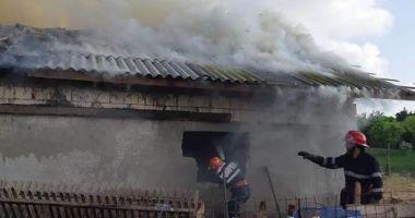 Incendiu puternic la Tariverde. Intervin zeci de pompieri. Mai multe animale sunt prinse în interiorul grajdului care arde
