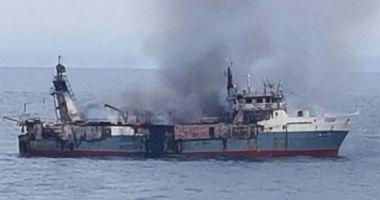 Incendiu pe un pescador în Atlanticul de Sud