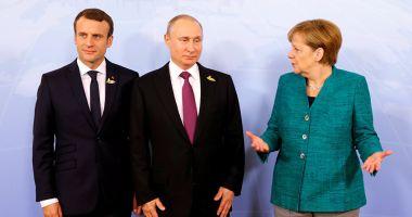 """Macron şi Merkel îi cer lui Putin """"gesturi"""" pentru dialog în estul Ucrainei"""
