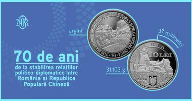 Monedă din argint dedicată relațiilor politico-diplomatice dintre România și China