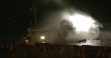 O navă germană a eşuat, dar echipajul a fost salvat