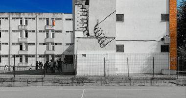 """Pictură murală pe unul dintre zidurile Colegiului de Arte """"Regina Maria"""", realizată de un fost elev"""