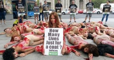 Sexy-protest împotriva hainelor de blană
