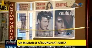 Militarul care şi-a înjunghiat mortal concubina într-un coafor, arestat preventiv