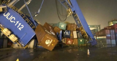 Un portcontainer a dărâmat o macara portal
