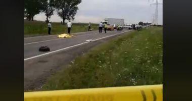Accident mortal. Poliţist pe motocicletă, spulberat de un şofer care mergea pe contrases