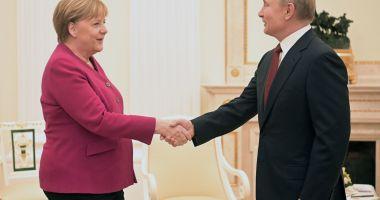 Vladimir Putin și Angela Merkel, discuții la Kremlin despre Iran, Libia și Siria